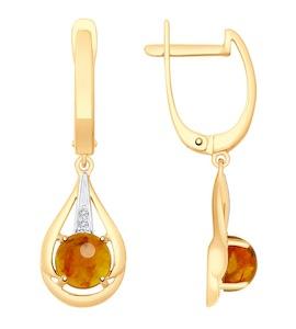 Серьги из золота с янтарём и фианитами 725473