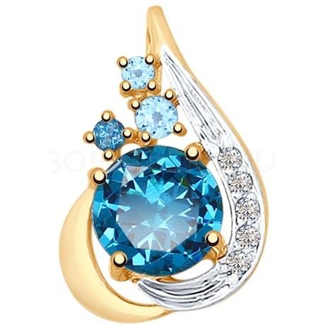 Подвеска из золота с голубыми и синими топазами и фианитами 731729