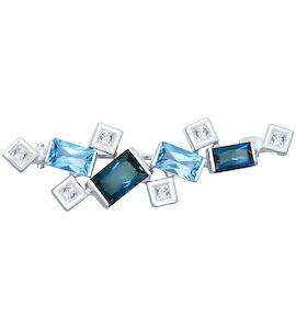 Брошь из белого золота с голубыми и синими топазами и Swarovski Zirconia 740202