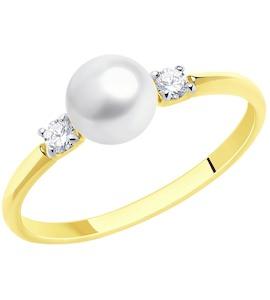Кольцо из желтого золота с жемчугом и фианитами 791053-2