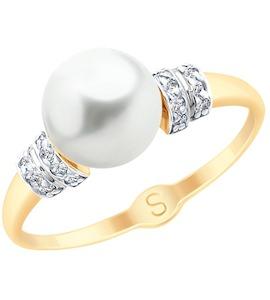Кольцо из золота с жемчугом и фианитами 791073