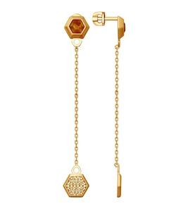 Серьги из золочёного серебра с янтарём и фианитами 83020045