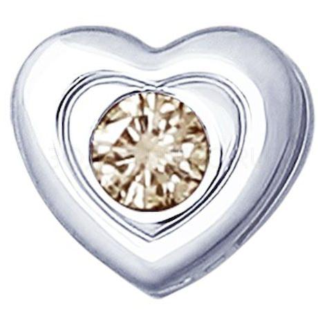 Подвеска из серебра с коньячным бриллиантом 87030005