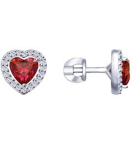 Серьги из серебра с бесцветными и красными Swarovski Zirconia 89020105