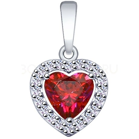 Подвеска из серебра с бесцветными и красным Swarovski Zirconia 89030039