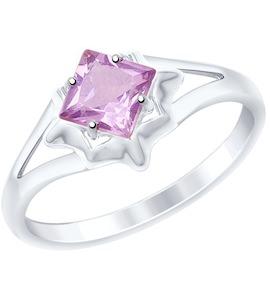 Кольцо из золочёного серебра с аметистом 92011514