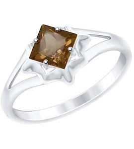Кольцо из золочёного серебра с раухтопазом 92011515
