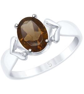 Кольцо из золочёного серебра с раухтопазом 92011539