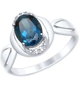 Кольцо из серебра с синим топазом и фианитами 92011559