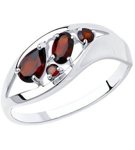 Кольцо из серебра с гранатами 92011575