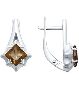 Серьги из золочёного серебра с раухтопазами 92021679