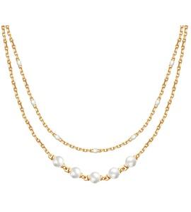 Колье из золочёного серебра с эмалью и жемчугом Swarovski 93070012