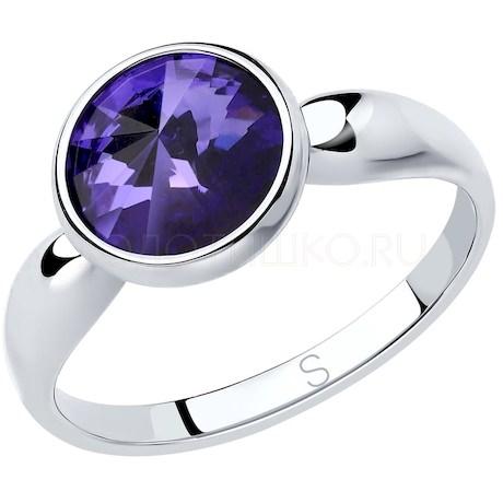 Кольцо из серебра с сиреневым кристаллом Swarovski 94012604