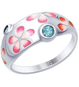 Кольцо из серебра с эмалью и фианитами 94012636