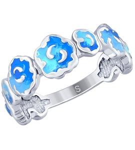 Кольцо из серебра с эмалью 94012640