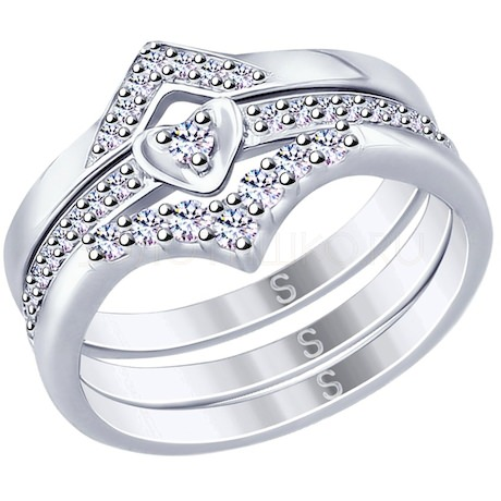 Кольцо из серебра с фианитами 94012653