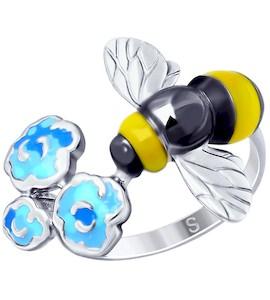 Кольцо из серебра с эмалью 94012658