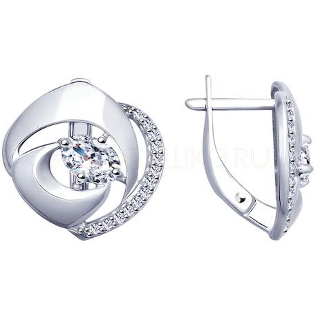 Серьги из серебра с фианитами 94022893