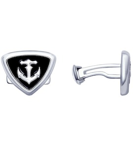 Запонки из серебра с эмалью 94160056