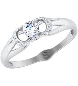 Кольцо из белого золота с бесцветными и синими фианитами 017871