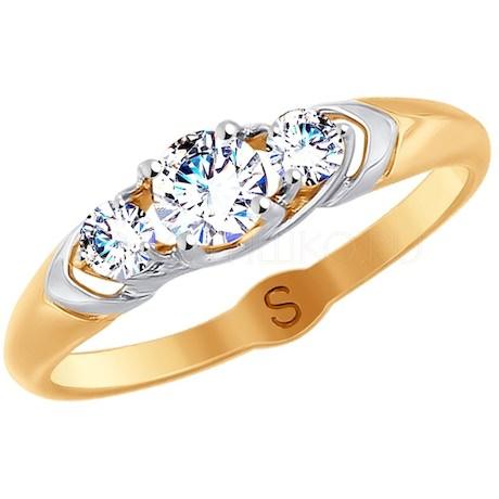 Кольцо из золота с фианитами 017926