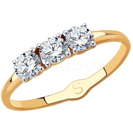 Кольцо из золота с фианитами 017957