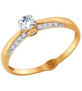 Кольцо из золота с фианитами 017971