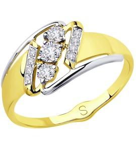 Кольцо из желтого золота с фианитами 018073-2
