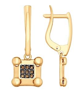 Серьги из золота с фианитами 027918