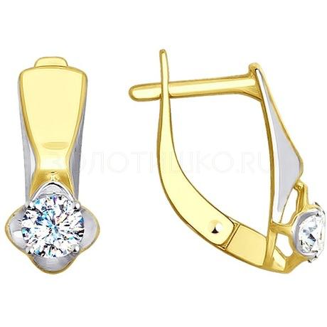 Серьги из желтого золота с фианитами 027920-2