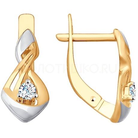Серьги из золота с фианитами 028078