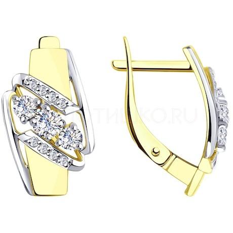 Серьги из желтого золота с фианитами 028176-2
