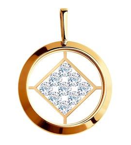 Подвеска из золота со Swarovski Zirconia и минеральным стеклом 035466
