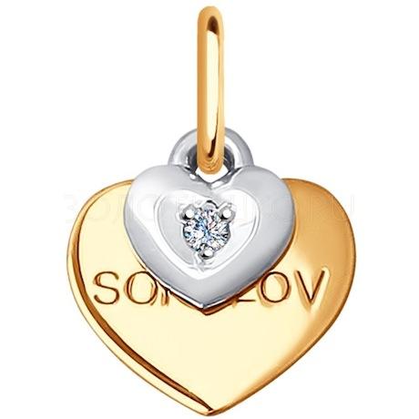 Подвеска из комбинированного золота с бриллиантом 1030606