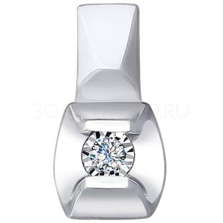 Подвеска из белого золота с алмазной гранью с бриллиантом 1030712