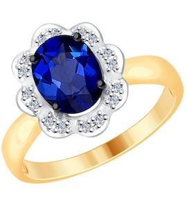 Кольцо из золота с бриллиантами и корунд (синт.) 6012116