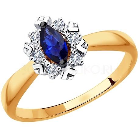 Кольцо из золота с бриллиантами и синими корундами 6012131