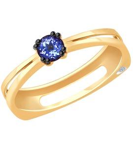 Кольцо из золота с бриллиантом и танзанитом 6014065