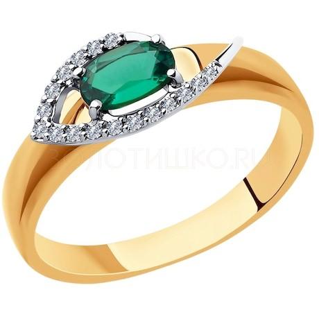 Кольцо из комбинированного золота с бриллиантами и гидротермальным изумрудом (синт.) 6017026