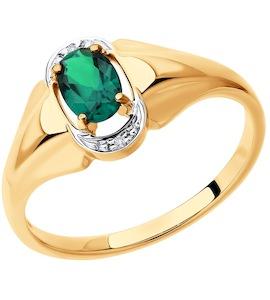 Кольцо из золота с бриллиантами и гидротермальным изумрудом (синт.) 6017032