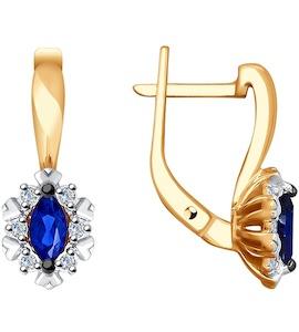 Серьги из золота с бриллиантами и синими корунд (синт.) 6022129