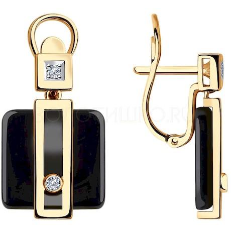 Серьги из золота с бриллиантами и чёрными керамическими вставками 6025099