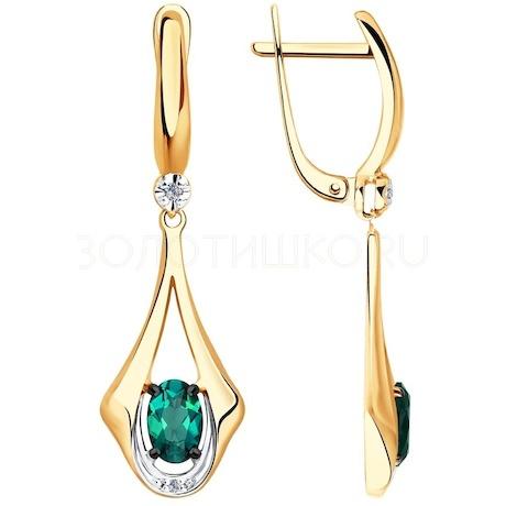 Серьги из золота с бриллиантами и гидротермальным изумрудом (синт.) 6027031