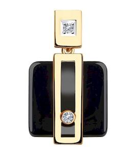Подвеска из золота с бриллиантами и чёрными керамическими вставками 6035048