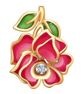 Подвеска из комбинированного золота с эмалью и бриллиантом 6039027