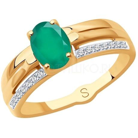 Кольцо из золота с агатом и фианитами 715236