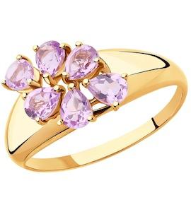 Кольцо из золота с аметистами 715399
