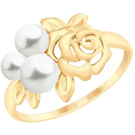 Кольцо из золота с жемчугом 791085