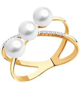 Кольцо из золота с жемчугом и фианитами 791121