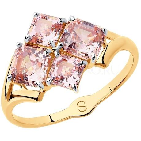 Кольцо из золота с розовыми Swarovski Zirconia 81010422